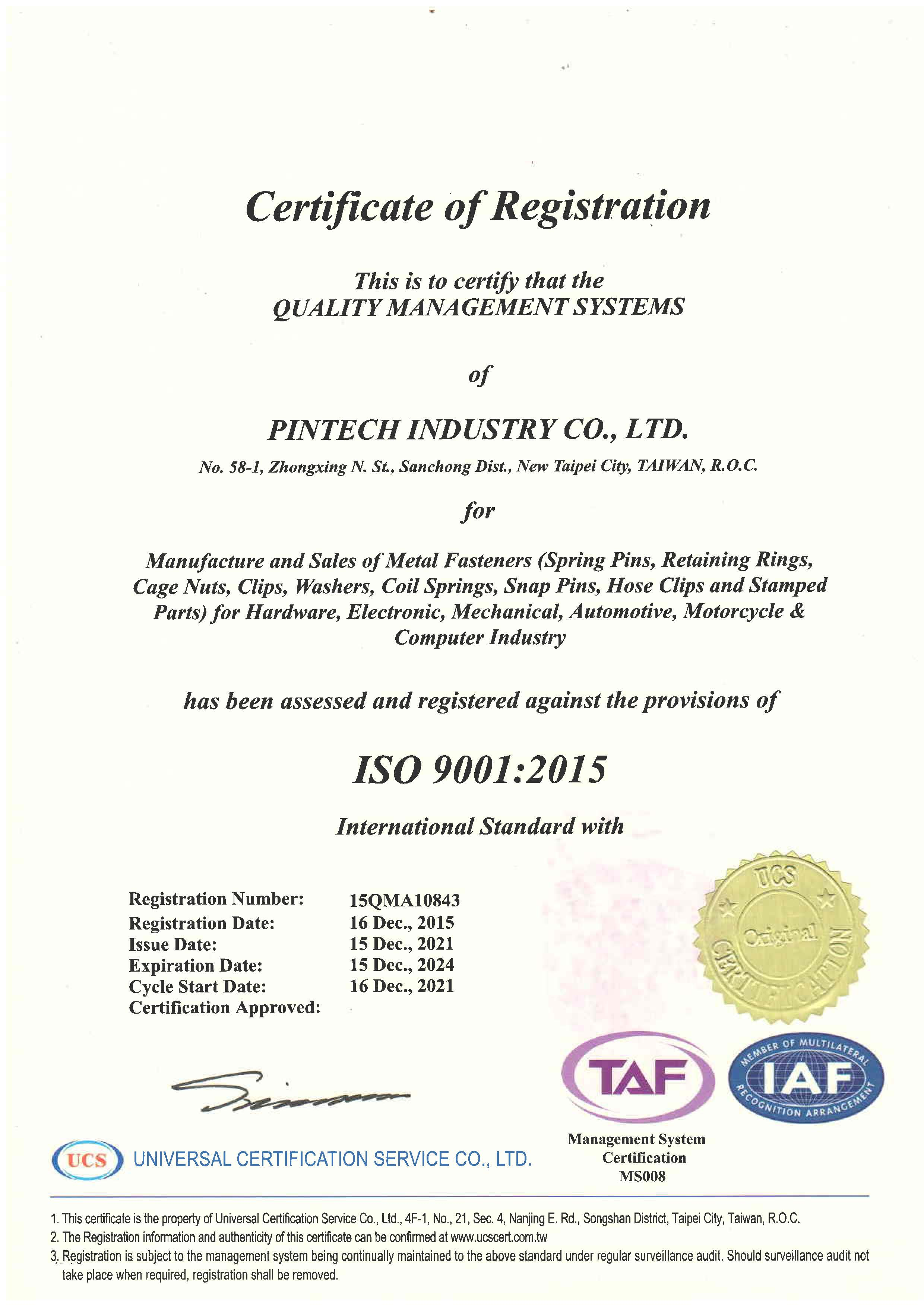 ISO 9001:2015 Cetificate of Registration